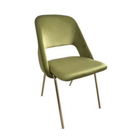 Scaun dining MEGAS, catifea, picioare aurii, verde lime imagine