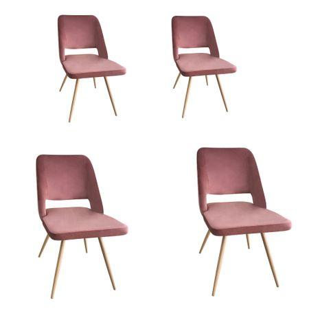 Set 4 scaune dining MANGO, catifea, picioare metalice, carmin imagine