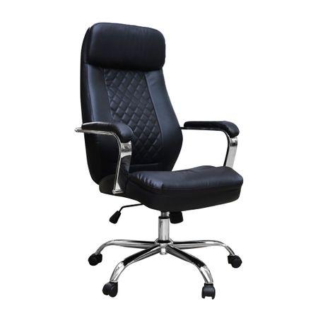 Scaun de birou directorial MENGALOS, piele ecologica, negru imagine