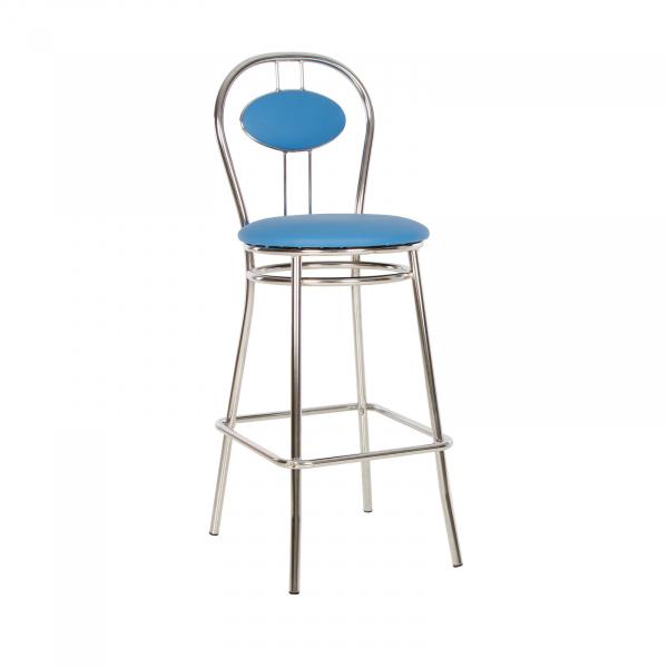 Scaun de bar Wegner Hoker, Albastru deschis piele ecologica imagine