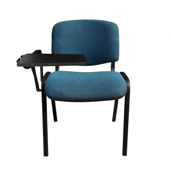 Scaun vizitator GOA BLACK cu masuta, Albastru canar-negru stofa cagliari imagine
