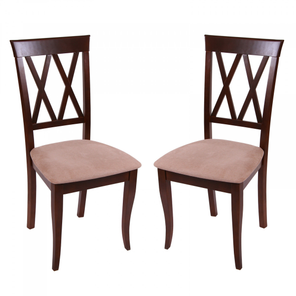 Set 2 scaune Milano, Lemn, Nut Misty beige imagine