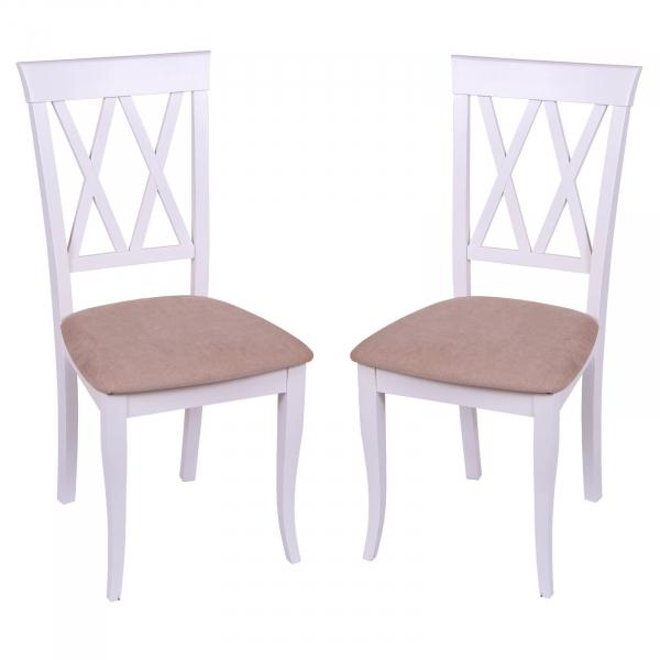 Set 2 scaune Milano, Lemn, White Misty Beige imagine