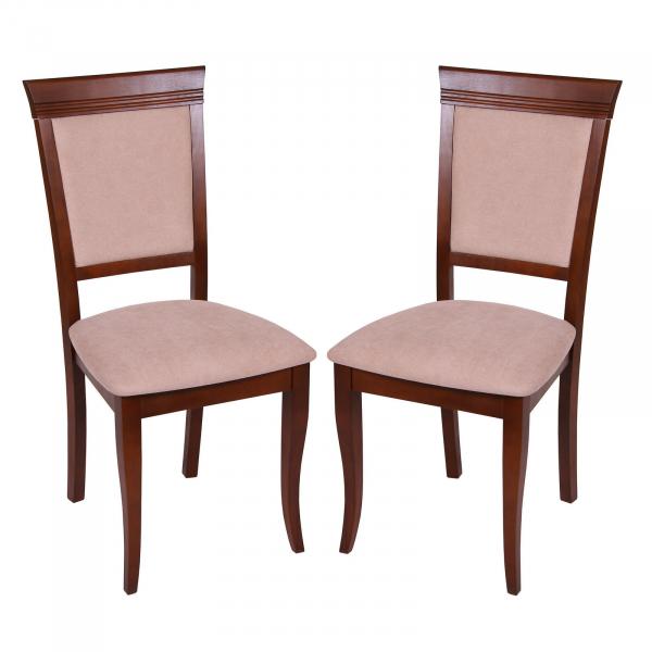 Set 2 scaune ROMA, Lemn, Nut Misty beige imagine